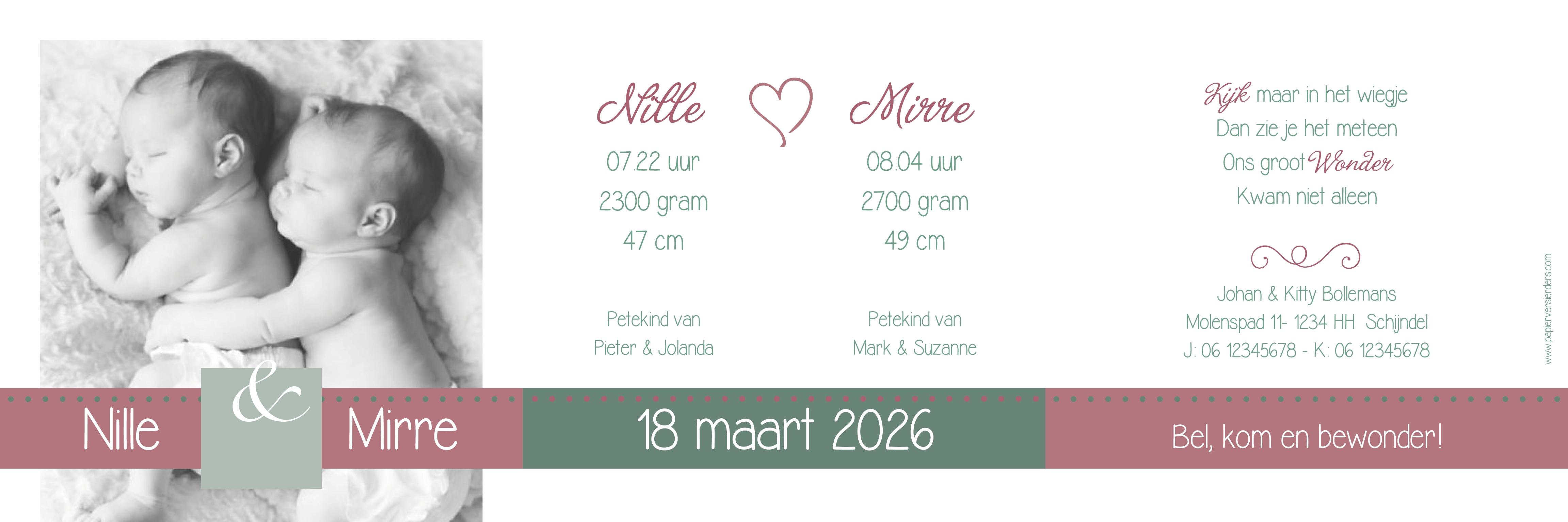 Geboortekaarten Tweelinggeboortekaartjes
